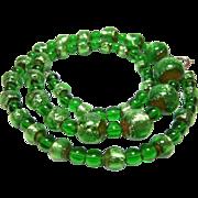 "Vintage Green Foil Venetian Glass Beaded Necklace 17 "" 5 - 12 mm"