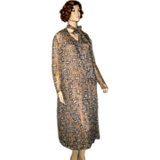 Silk Chiffon 1920's Drop Waist Geometric Print Dress w Scarf