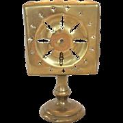 SALE Doll size brass tilt-top pedestal trivet - square