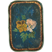 Blue silk and paper box, hand painted pansies