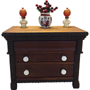 Signed miniature three drawer Empire chest with ripple moldings
