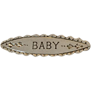 """SALE Victorian sterling silver engraved """"BABY"""" bar pin"""