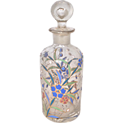 SALE Enameled crystal bottle or decanter with matching stopper