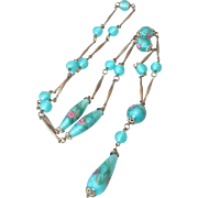 SALE Reserved:  Art Deco Venetian glass bead necklace