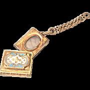 SALE Victorian enameled book shaped swivel locket