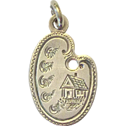 SALE Victorian sterling love token charm, palette shape