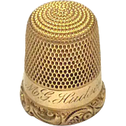 14K gold Simons Brothers thimble, engraved, size 9
