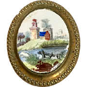 English enamel curtain tieback or picture hanger