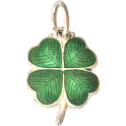 Sterling silver enamel four leaf clover or shamrock charm