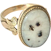 SALE Victorian moss agate and 14K gold ring