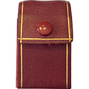 Doll size red leather bottle case
