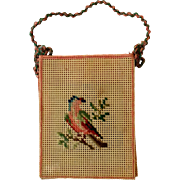 Victorian perforated paper embroidered doll size bag with bird