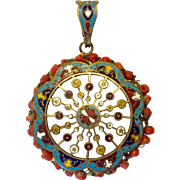Victorian champlevé enamel and natural coral pendant