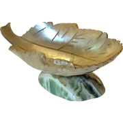 Mother of pearl leaf shaped pedestal bowl