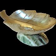 Mother of pearl leaf shaped pedestal bowl