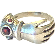 SALE Victorian sterling silver and garnet figural hand ring