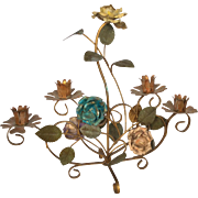 SALE Italian toleware metal roses candleholder