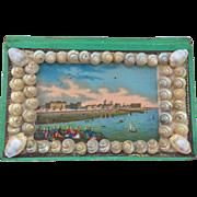 SALE Victorian sailor's valentine sea shell trinket box pincushion souvenir