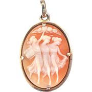 Italian 'Three Graces' Cornelian Shell Cameo Pendant with 900 silver setting