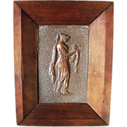 Greek Goddess Hand Formed Crafted Copper Art Lady Woman Wall Plaque