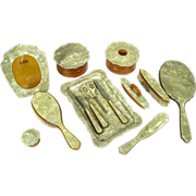 Vintage Lucite Vanity Nail Manicure Dresser Grooming Set 14 Piece Set With Picture Frame