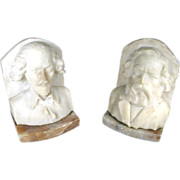 Vintage Italian Carved Marble Authors Walt Whitman Mark Twain Bust Bookends Book Ends