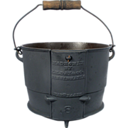 Antique J H Day Cast Iron 2 Gal Kettle Bail Handle Bean Camp Fire Safety ...