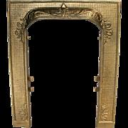 Antique Ornate Arts Craft Cast Iron Fleur De Lis Door Frame Surround Fire Place