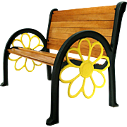 Vintage Sunflower Cast Iron Wood Slat Patio Garden Porch Park Chair Bench