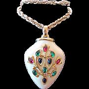 SALE Vintage Trifari Luctire Glass Cabochon Necklace Pendant Large Jewels of India Philippe ..