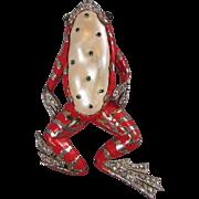 Vintage 1942 Trifari Ming Fur Clip Brooch Red Enamel Pearl Belly Rhinestone Figural Huge Very