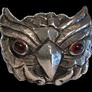 SALE Rare Trifari Owl Fur Clip Brooch Pin Philippe 1940's Figural Red Glass Cabochon ...