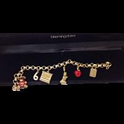 REDUCED Bloomingdales Vintage New York City Themed, Enamel, Charm Bracelet, Red Apple, Lady ..