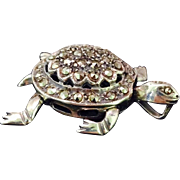 Sterling Silver & Marcasites Mechanical 3D Turtle Pendant