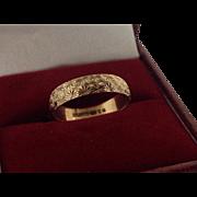B. BROS - 9K Yellow Gold 4 mm Band with Star Burst Design