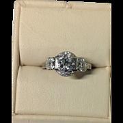 Platinum Birks Art Deco Lady's Diamond Set Fancy Solitaire Design Ring