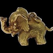 Rare 18K yellow Gold Good Luck Elephant, 3D Charm / Pendant ,Solid, french hallmark