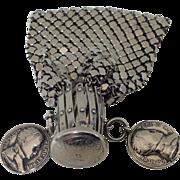 Vintage Stainless Metal Armor Mesh Change Purse / Beggars Bag Napoleon EMP. ET ROI with 2 ...