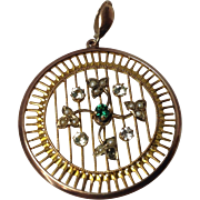 9ct Yellow Gold & Rose Gold Victorian Pendant with Seed Pearls on a Gold Round Medallion ...
