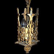Original, 1930s Ornate, Art Deco, Cast Iron, Pendant Light