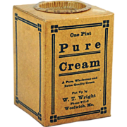 Pure Cream Pint Wax Cardboard Container with Lid