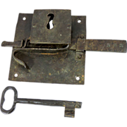 1700s Iron Door Lock Plate and Key