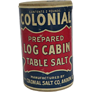 Colonial Log Cabin Table Salt Container