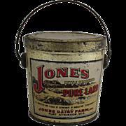 Vintage Jones Pure Lard Tin Bucket Pail