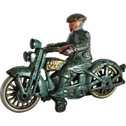 "Hubley ""Harley Davidson"" Motorcycle With Civilian Driver"