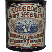 Vintage Voegele's Dainty Specialties Salted Peanuts Tin