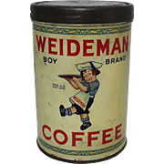 "Vintage ""Weideman Boy Brand"" Coffee Tin"