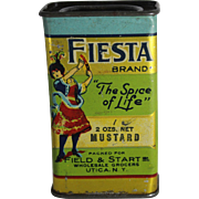 "Vintage Fiesta ""The Spice of Life"" Mustard Spice Tin"