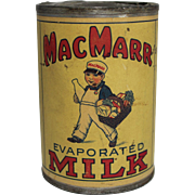 Rare Vintage MacMarr Evaporated Milk Tin