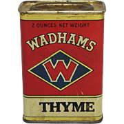 """Vintage """"Wadhams"""" Thyme Spice Container"""